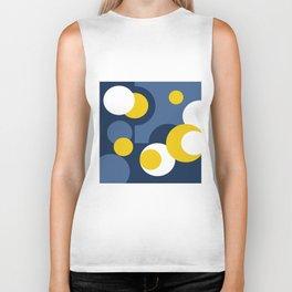 Multi-colored yellow white and blue polka dots . Biker Tank