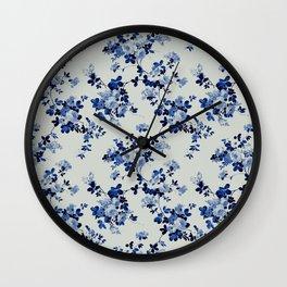 Vintage ivory navy blue elegant roses floral Wall Clock