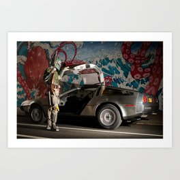 Mandalorian Delorean 3 - Bobba Fett, Bounty Hunter Art Print