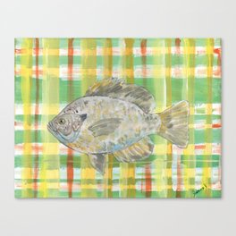 Bluegill with Yellow Plaid Background Canvas Print