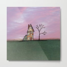 Little Brick House With Tree Metal Print