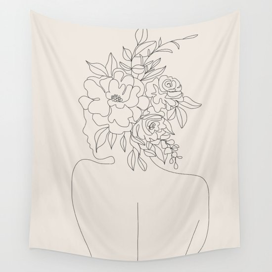 Woman with Flowers Minimal Line I by nadja1