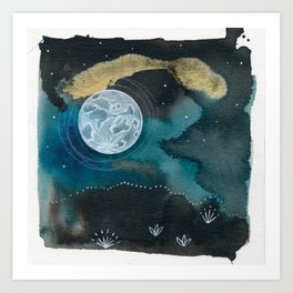 Moon Series #6 Watercolor + Ink Painting Art Print