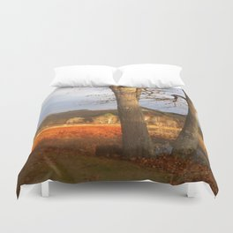 Delaware River Glowing Fall Foliage Duvet Cover