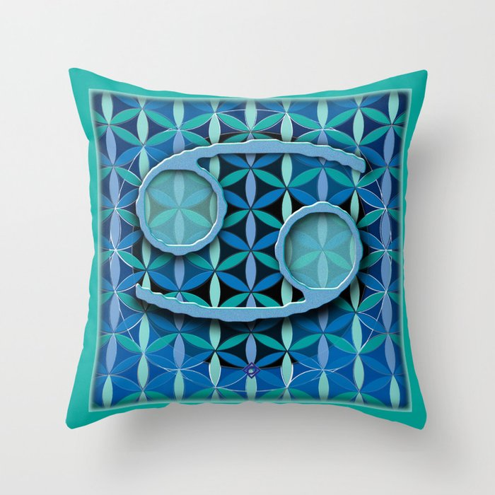 CANCER Flower of Life Astrology Design Throw Pillow