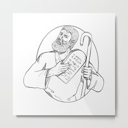 Moses With Ten Commandments Drawing Black and White Metal Print