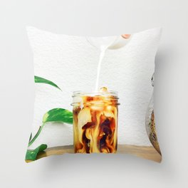 Coffee & Cream // Slow Milky Pour Over Cold Brew Caffeine in Mason Jar Plants & Owl Picture Throw Pillow