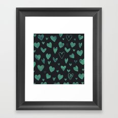 Watercolour  heart pattern 1 Framed Art Print
