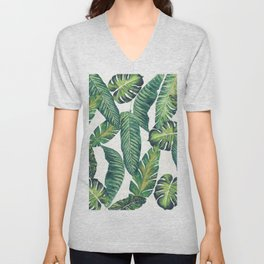 Jungle Leaves, Banana, Monstera II #society6 Unisex V-Neck