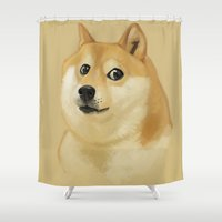 doge Shower Curtains featuring Doge by Brad Collins Art & Illustration