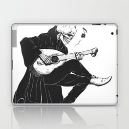 Minstrel playing guitar,grim reaper musician cartoon,gothic skull,medieval skeleton,death poet illus Laptop & iPad Skin