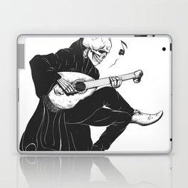 Minstrel playing guitar,grim reaper musician cartoon,gothic skull,medieval skeleton,death poet illus Laptop & iPad Skin