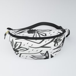 Black and White Echinacea Wildflower Drawing Fanny Pack
