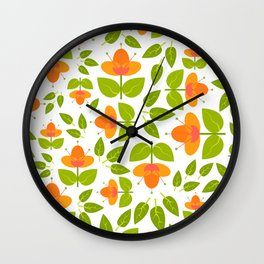 Simply Apricot Flowers Wall Clock