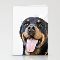 rottweiler Stationery Cards featuring Happy rottweiler by StarsColdNight