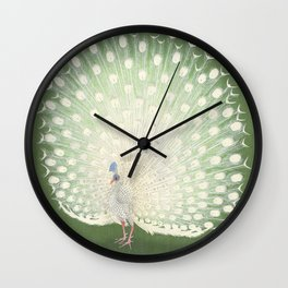 Peacock, Ohara Koson - Japanese Woodcut Wall Clock