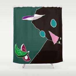 facescape: face lean on palm Shower Curtain