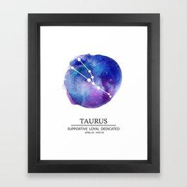 Taurus Watercolor Zodiac Constellation Framed Art Print