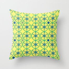 blue, green and shape Throw Pillow