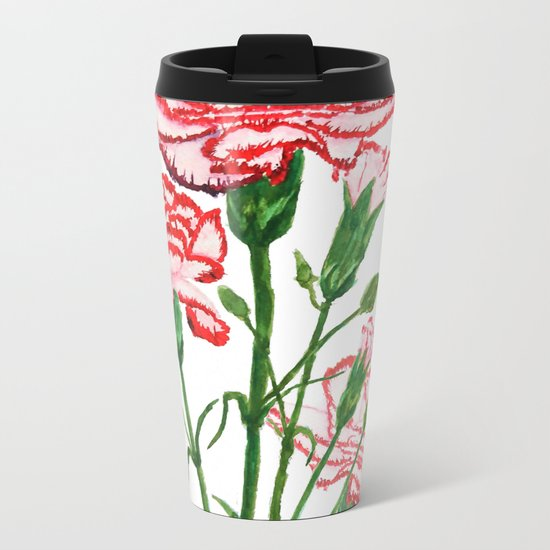 pink and red carnation watercolor painting Metal Travel Mug