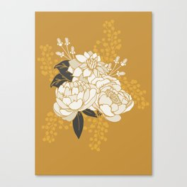 Glam Florals - Gold Canvas Print