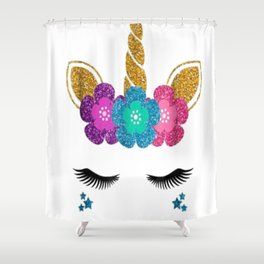 Unicorn Face Halloween T-Shirt Unicorn Birthday Outfit Shower Curtain