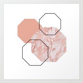 Geometric - Hexagon, Marble Rose Gold Art Print
