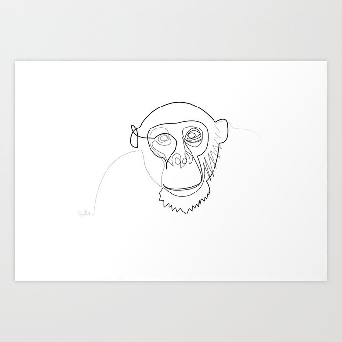 One line monkey Art Print