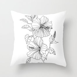 Hibiscus Flower drawing Throw Pillow