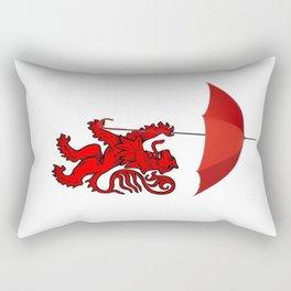 Red Heraldic Lion Expecting Rain Rectangular Pillow