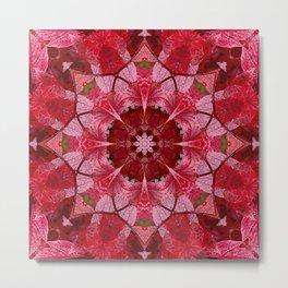 Red autumn leaves kaleidoscope - Cranberrybush Viburnum Metal Print