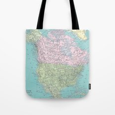 Vintage North America Map Tote Bag