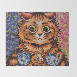 Cat and Her Kittens-Louis Wain Cats Throw Blanket