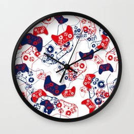 Video Game Red White & Blue 3 Wall Clock