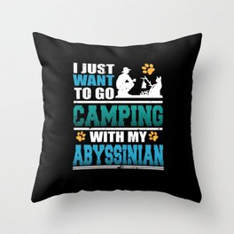 Camping with my Abyssinian Cat Throw Pillow
