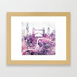 LONDON Skyline + map Framed Art Print