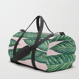 Green Banana Leaves Pink #society6 Duffle Bag