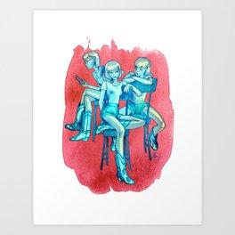 blue girls in a red brush stroke Art Print