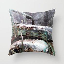 Truck Wreck on a Country New Zealand Road Throw Pillow