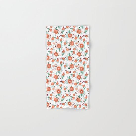 Autumn Fall florals cute winter christmas theme pattern print Hand & Bath Towel