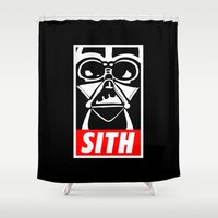 sith Shower Curtains featuring Obey Darth Vader (sith text version) - Star Wars by Yiannis