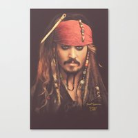 jack sparrow Canvas Prints featuring Jack Sparrow Digital Painting by Visionary Creations