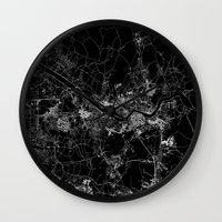 seoul Wall Clocks featuring Seoul by Line Line Lines