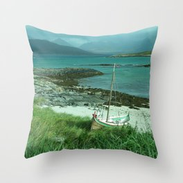 Boat Docked on the Beach Throw Pillow