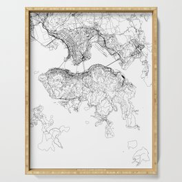 Hong Kong White Map Serving Tray