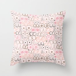 Fighting for Boobs Throw Pillow