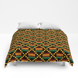 Green, Dark Red, Yellow Gold Kente Cloth on Black Comforters