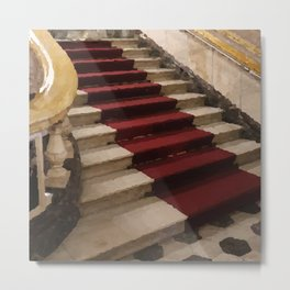 Stairs with red carpet Metal Print