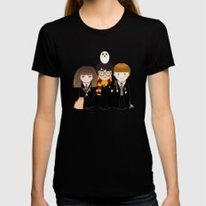 Kokeshis Hermi, Harry and Ron X-LARGE Black Womens Fitted Tee