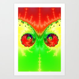 Vibrant Spring Twin Vortex Fractal Art Print Art Print